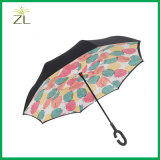 Изготовленный на заказ зонтик обратного способа двойного слоя ручки c печатание