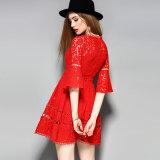 Vestido de partido floral oco das mulheres do laço da luva de sopro da forma