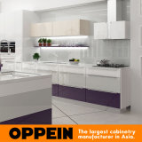 Cabina de cocina de madera de la laca púrpura moderna con el vector de cena (OP16-L10)