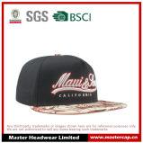 Sombrero plano bordado 3D negro del borde