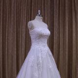 Ivory Spitze-Fußboden-Längen-Hochzeits-Kleider