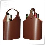 Panier en cuir fabriqué à la main de vin d'unité centrale pour le vin