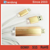 Câble visuel de l'adaptateur HDMI de pivot du connecteur HDMI du support 1080P HDMI pour l'iPhone