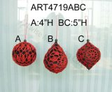 "4 "" H, 5 "" H Red & Black Crochet Tree Ball, 4asst-Christmas Ornaments"