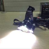 Phare rechargeable d'aluminium de lampe-torche de pêche de phare de Xml T6 3 DEL du CREE 1800lm du chargeur USB de 2*18650 Battery+