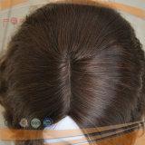 金褐色のカラー自然な耐えられた波状のヨーロッパの毛のハイエンド皮の上のかつら
