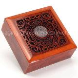 Aduana su rectángulo de empaquetado del regalo de madera de la insignia