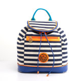 Neuen Style Girls Fashion Striped Canvas Backpack Bag (pH1706)