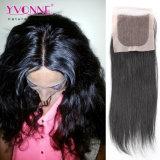 Chiusura superiore di seta brasiliana dei capelli umani