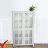 Gabinete de indicador de madeira do vintage antigo dianteiro de vidro branco