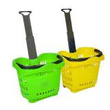 Choisir le panier à provisions en plastique de poignée pour le supermarché