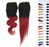 Fechamento do laço do cabelo do cabelo humano T2/T3 Ombre do Virgin