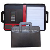 Handles su ordinazione A4 Leather Pad Folio con Calculator