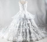 袖の花嫁の夜会服の顧客用実質の写真の銀製の植物相の婚礼衣裳2017 Gl1728