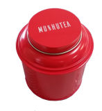 Runder Tee-Zinn-Kasten mit Firmenzeichen-Drucken