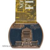 Medalha da concessão do corredor do projeto do costume 3D da competição com fita Sublimated