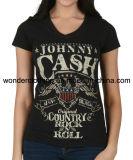 T-shirt de té de vente en gros d'impression d'écran du coton de mode de la fille neuve de modèle