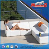 Sofa moderne de jardin de cuir blanc de meubles extérieurs en cuir d'unité centrale