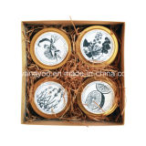 De decoratieve Soja Gebemerkte Kaars van de Gift in Tin