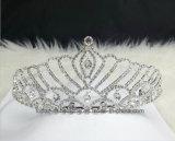 Coroa nupcial personalizada da princesa de coroa Rhinestone de cristal de vidro da faísca (TA-003)