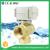 12V/24V 3 Way Type Brass Motorized Ball Valve Cr202 2 Wires