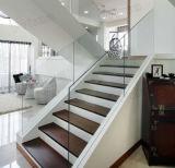 주거 단단한 나무 단계 계단 Frameless 유리 난간