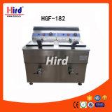 La sartén profunda del gas (HGF-182) los dos tanques dobla la máquina de la hornada del equipo del hotel del equipo de la cocina de la máquina del alimento del equipo del abastecimiento del Bbq del equipo de la panadería del Ce de las válvulas