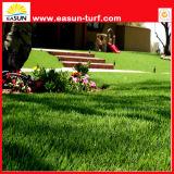 جذّابة يرتّب عشب اصطناعيّة من حد فناء خلفيّ لأنّ حلية