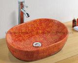 Керамическая раковина ванной комнаты цвета тазика мытья (MG-0019)