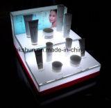 La publicité neuve de type allument le présentoir cosmétique acrylique du dessus de table DEL d'étalage