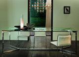 Tabella pranzante di vetro lunga di disegno moderno con la base inossidabile (NK-DT233-1)