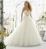 Una riga cristallo di Tulle dell'innamorato che borda i vestiti da cerimonia nuziale