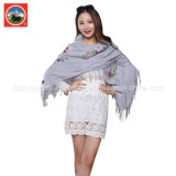 Xaile/lenço bordados lãs de /Yak da caxemira das mulheres de 100%