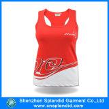 Vêtements de sport en bonne santé de mode de forme physique de dri rouge de Guangdong d'usine de vêtement
