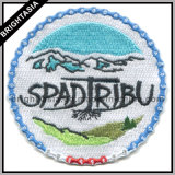 Kundenspezifisches Round Shape Embroidery Patch mit Merrow Border (BYH-10945)