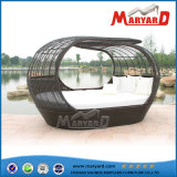 Mobília de jardim Outdoor Double Rattan Daybed with Canopy