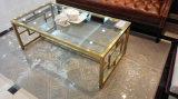 Tavolino da salotto di vetro dorato della spazzola dell'acciaio inossidabile per la casa (CTS-004)