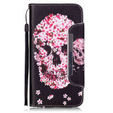 Bloem Skull Pu Leather Case Wallet Filp Cover voor iPhone6 6s
