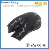 Mouse collegato ottico ergonomico su ordinazione di gioco dell'OEM 6D di marchio di disegno
