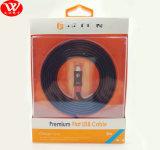 Câble de caractéristiques plat du griffon USB 2m avec l'emballage