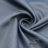 Agua y de la ropa de deportes tela rayada tejida chaqueta al aire libre Viento-Resistente 100% de la pongis del poliester del telar jacquar de la piel del melocotón abajo (53063)