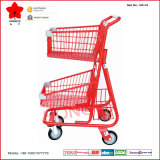 Main Push Supermarket Shopping Trolley Cart avec Two Baskets (OW-C2)