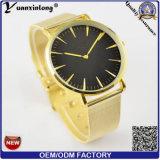 Relógios das mulheres da faixa do engranzamento da liga de Genebra dos relógios dos homens do ouro Yxl-634