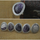 Natural Amethyst Antique Silver Ring