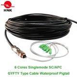 6 tipo esterno treccia impermeabile ottica di memorie GYFTY della fibra del cavo