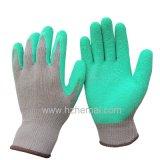 Guante sumergido látex del trabajo de la seguridad de los guantes del jardín de los guantes del algodón
