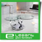 De draaibare Aangemaakte Koffietafel van het Glas met de Basis van het Roestvrij staal
