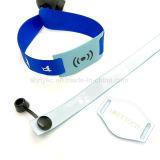 Wristband de la cinta del satén de la aduana NFC NTAG213 RFID de los acontecimientos