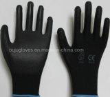 13 gants noirs de polyester de mesure avec l'unité centrale ont enduit