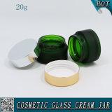 20ml緑の曇らされた装飾的なガラスクリーム色の瓶
